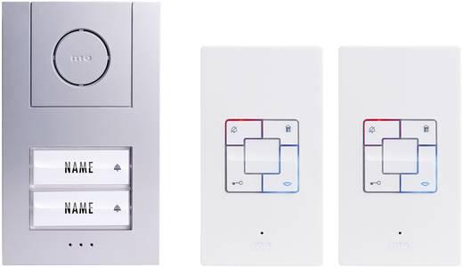 m-e modern-electronics Vistus AD 4020 Complete set voor Deurintercom Kabelgebonden 2 gezinswoning Zilver, Wit