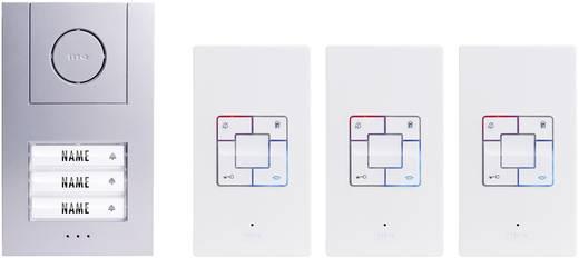 m-e modern-electronics Vistus AD 4030 Complete set voor Deurintercom Kabelgebonden 3 gezinswoning Zilver, Wit
