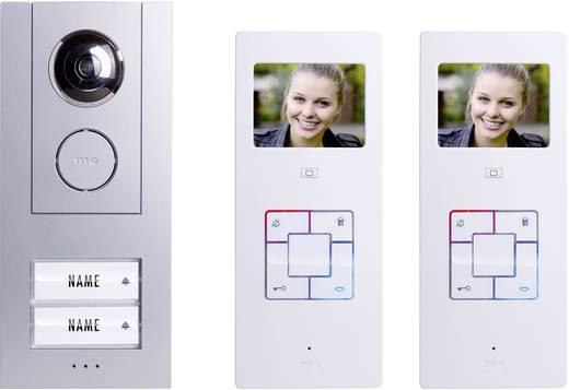 m-e modern-electronics Vistus VD6320 Complete set voor Video-deurintercom Kabelgebonden 2 gezinswoning Zilver, Wit