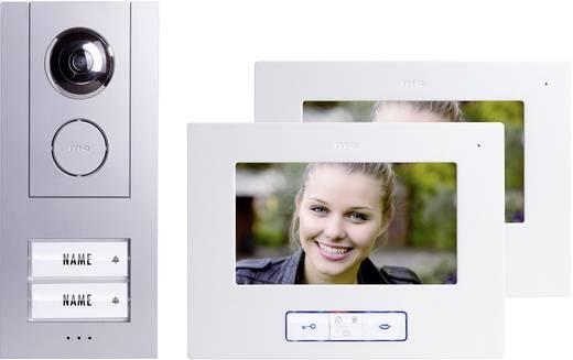 m-e modern-electronics Vistus VD 6720 Complete set voor Video-deurintercom Kabelgebonden 2 gezinswoning Zilver, Wit