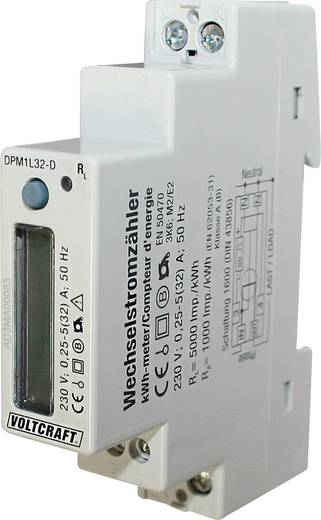 kWh-meter 1-fase Digitaal 32 A Conform MID: Nee VOLTCRAFT DPM1L32-D Plus