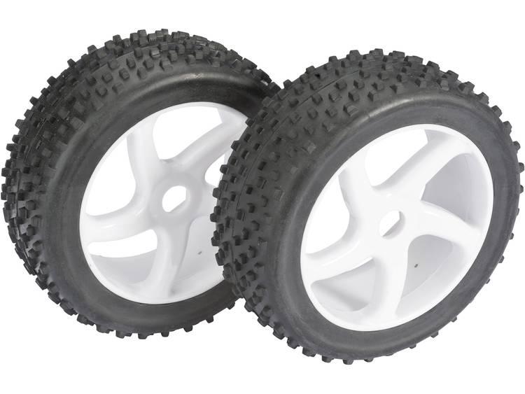 Absima 1:8 Buggy Complete wielen 4-Kant Multispike S-design Wit 2 stuks
