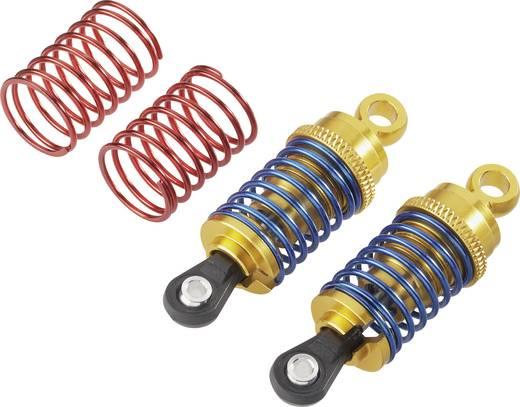 Reely 1:10 Hydraulische schokdempers aluminium Goud Met veren Blauw (metallic), Rood (metallic) 58 mm 2 stuks