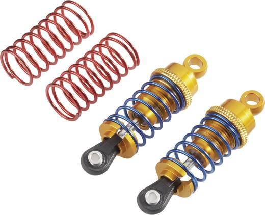Reely 1:10 Hydraulische schokdempers aluminium Goud Met veren Blauw (metallic), Rood (metallic) 64 mm 2 stuks