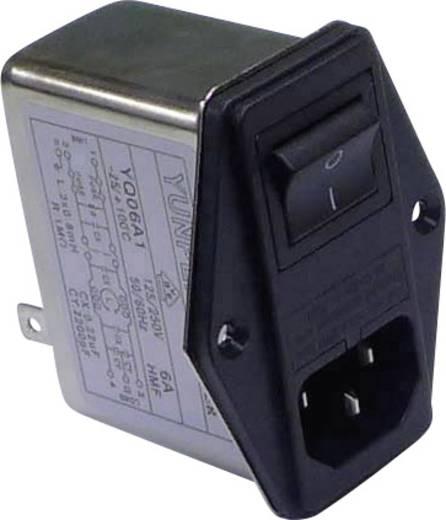 Yunpen YQ06A1 Netfilter Met IEC-connector, Met schakelaar, Met 2 zekeringen 250 V/AC 6 A 0.8 mH 1 stuks
