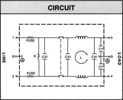 Yunpen YQ02A1 Netfilter Met IEC-connector, Met schakelaar, Met 2 zekeringen 250 V/AC 2 A 4.6 mH 1 stuks