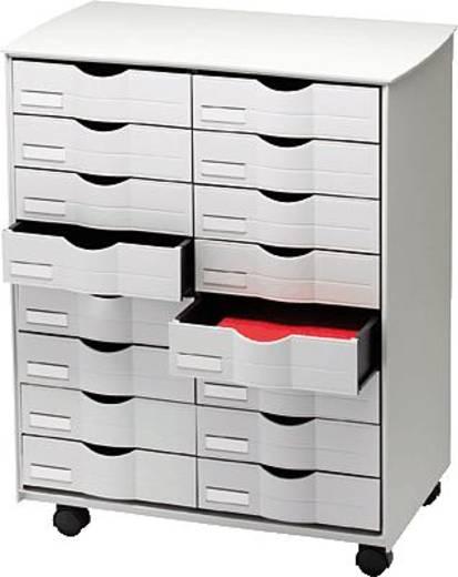 Paperflow rolcontainer met laden/DT162.02 B x H x D 580 x 715 x 343 mm grijs 16 laden