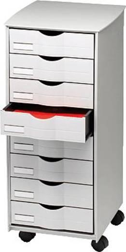Paperflow rolcontainer met laden/DT162.02 B x H x D 316 x 715 x 343 mm grijs 8 laden