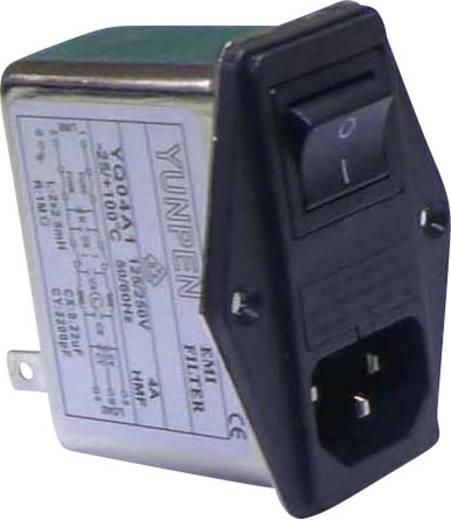 Yunpen YQ04A1 Netfilter Met IEC-connector, Met schakelaar, Met 2 zekeringen 250 V/AC 4 A 2.5 mH 1 stuks