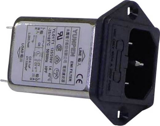 Yunpen YL01T1 Netfilter Met IEC-connector, Met zekering 250 V/AC 1 A 3.7 mH 1 stuks