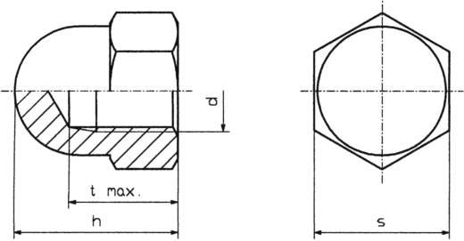 Zeskant dopmoeren M3 DIN 1587 Staal verzinkt 10 stuks TOOLCRAFT M3 D1587-STAHL:A2K 194786