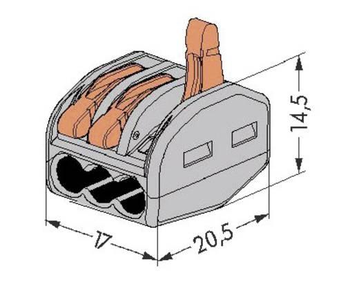 WAGO 222 Lasklem Flexibel: 0.08-4 mm² Massief: 0.08-2.5 mm² Aantal polen: 3 50 stuks Grijs, Oranje