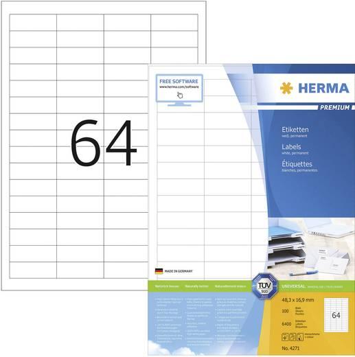 Herma 4271 Etiketten (A4) 48.3 x 16.9 mm Papier Wit 6400 stuks Permanent Universele etiketten Inkt, Laser, Kopie