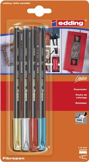Edding 4-1200-4-1999 Colour pen Goud, Zilver, Rood (metallic), Groen (metallic) Ronde vorm 1 - 3 mm 4 stuks