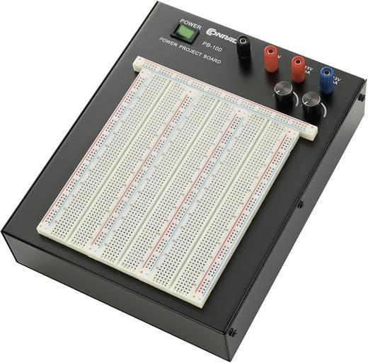 Breadboard Loodvrij, Met stroomvoorziening Totaal aantal polen 2390 (l x b x h) 250 x 200 x 80 mm Conrad Components PB-100 1 stuks