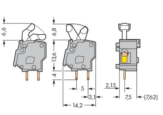 Veerkachtklemblok 2.50 mm² Aantal polen 1 PCB MOD.T.BL. GREY W. LEVER WAGO Grijs 400 stuks