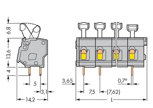 Veerkachtklemblok 2.50 mm² Aantal polen 10 KL-LEISTE EINLÖTB.10-POL. 7,5/7,62MM WAGO Lichtgrijs 60 stuks