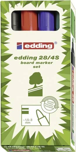 Edding 4-28-4-1999 Boardmarker Zwart, Rood, Blauw, Groen Ronde vorm 1.5 - 3 mm 4 stuks