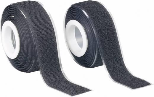 Fastech Klittenband om vast te plakken Haak- en lusdeel (l x b) 2000 mm x 25 mm Zwart 1 paar