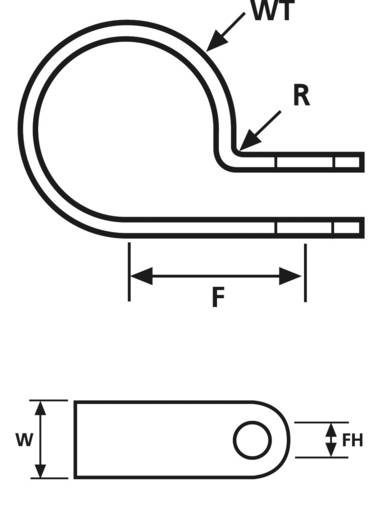HellermannTyton 211-60019 H1P-N66-NA-M1 Bevestigingsklem Schroefbaar halogeenvrij, hittegestabiliseerd Naturel 1 stuks