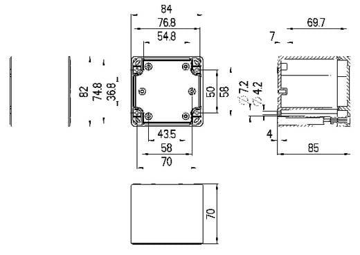 Spelsberg TG PC 88-9-o Installatiebehuizing 84 x 82 x 85 Polycarbonaat Lichtgrijs (RAL 7035) 1 stuks