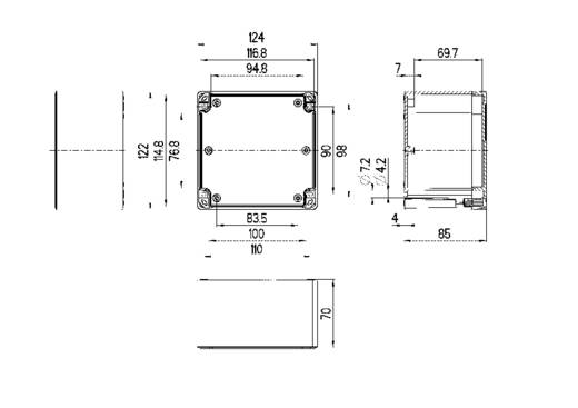 Spelsberg TG PC 1212-9-o Installatiebehuizing 124 x 122 x 85 Polycarbonaat Lichtgrijs (RAL 7035) 1 stuks