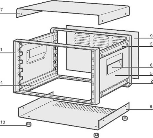 """Schroff COMPTEC 10225-629 19"""" modulesteunen 520 x 420 x 500 Plaatstaal 1 set"""