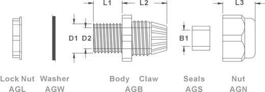 Wartel M12 Polyamide Lichtgrijs (RAL 7035) KSS AGR12LGY4 1 stuks