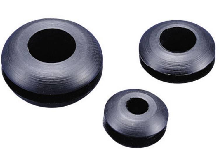 TRU COMPONENTS TC-GMR1410203 Kabeldoorvoering Open Klem-Ã (max.) 10.5 mm PVC Zwart 1 stuks