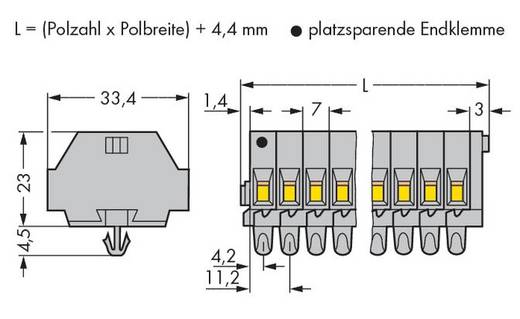 Klemstrook 7 mm Veerklem Toewijzing: L Grijs WAGO 262-157 50 stuks