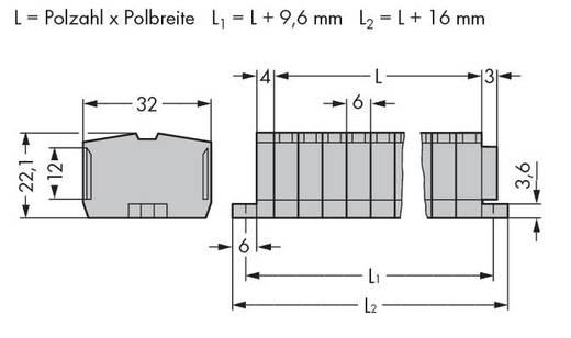 Klemstrook 6 mm Veerklem Toewijzing: L Grijs WAGO 264-109 50 stuks