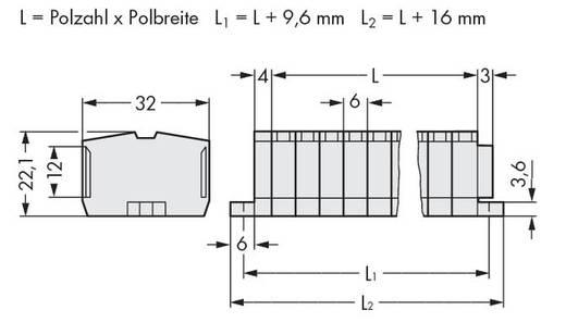 Klemstrook 6 mm Veerklem Toewijzing: L Grijs WAGO 264-140 50 stuks