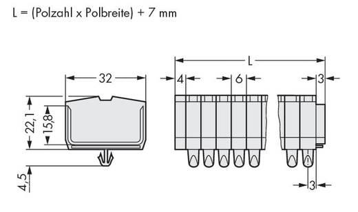 Klemstrook 6 mm Veerklem Toewijzing: L Grijs WAGO 264-190 25 stuks