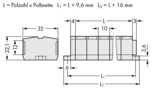 Klemstrook 10 mm Veerklem Toewijzing: L Grijs WAGO 264-239 50 stuks