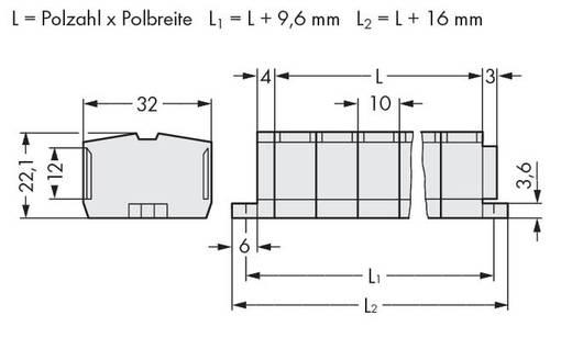 Klemstrook 10 mm Veerklem Toewijzing: L Grijs WAGO 264-240 50 stuks