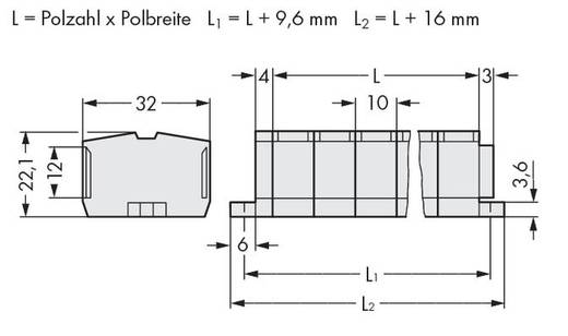 Klemstrook 10 mm Veerklem Toewijzing: L Grijs WAGO 264-241 100 stuks