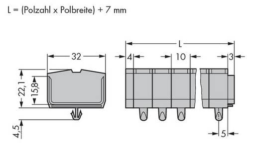Klemstrook 10 mm Veerklem Toewijzing: L Grijs WAGO 264-253 100 stuks