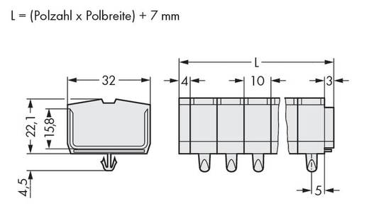 Klemstrook 10 mm Veerklem Toewijzing: L Grijs WAGO 264-282 100 stuks