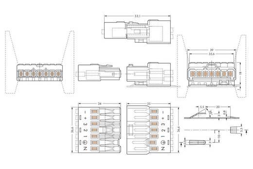 WAGO 267-501 Verbindingsstekker Flexibel: - Massief: 1.5-2.5 mm² Aantal polen: 7 50 stuks Wit