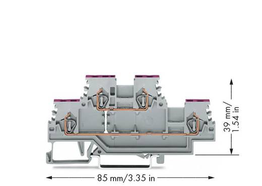 Doorgangsklem 2-etages 4 mm Veerklem Toewijzing: L Grijs WAGO 279-508 50 stuks