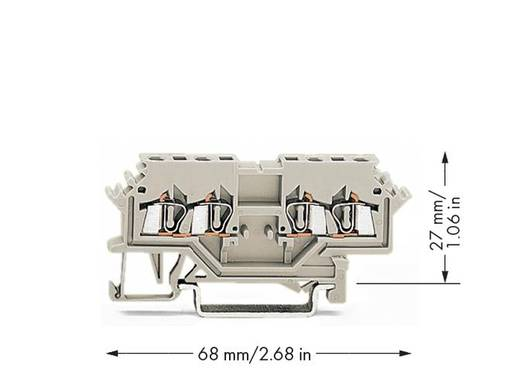 Doorgangsklem 4 mm Veerklem Toewijzing: L Grijs WAGO 279-989 100 stuks