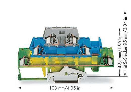 Doorgangsklem 3-etages 5 mm Veerklem Groen-geel, Blauw, Grijs WAGO 280-510 50 stuks