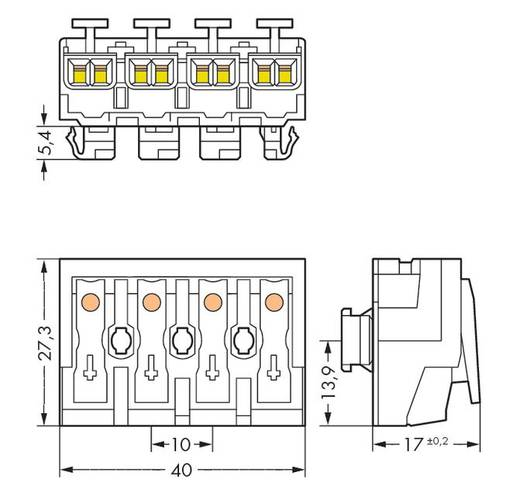 WAGO 294-8024 Netaansluitingsklem Flexibel: - Massief: 0.5-2.5 mm² Aantal polen: 4 500 stuks Wit