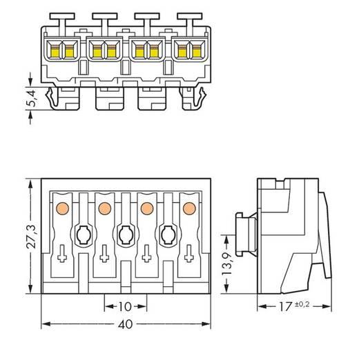 WAGO Netaansluitingsklem Flexibel: - Massief: 0.5-2.5 mm² Aantal polen: 4 500 stuks Wit