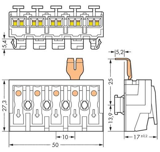WAGO 294-8235 Netaansluitingsklem Flexibel: - Massief: 0.5-2.5 mm² Aantal polen: 5 250 stuks Wit