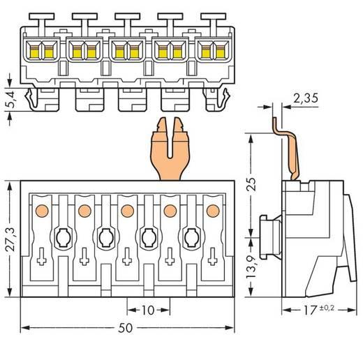 WAGO 294-8335 Netaansluitingsklem Flexibel: - Massief: 0.5-2.5 mm² Aantal polen: 5 250 stuks Wit
