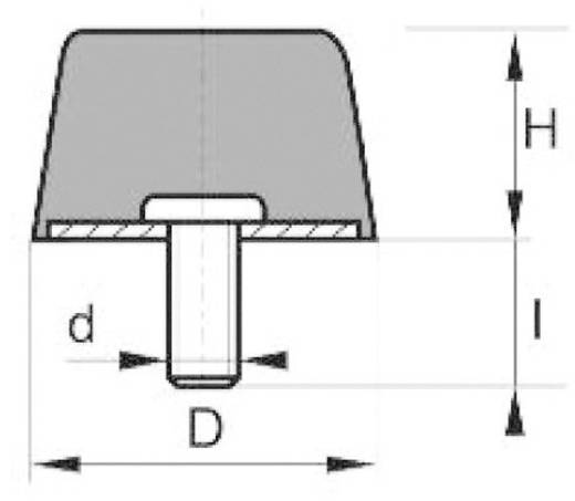 PB Fastener 110077 Stootbuffer Conisch Zwart (Ø x h) 14 mm x 14 mm 1 stuks