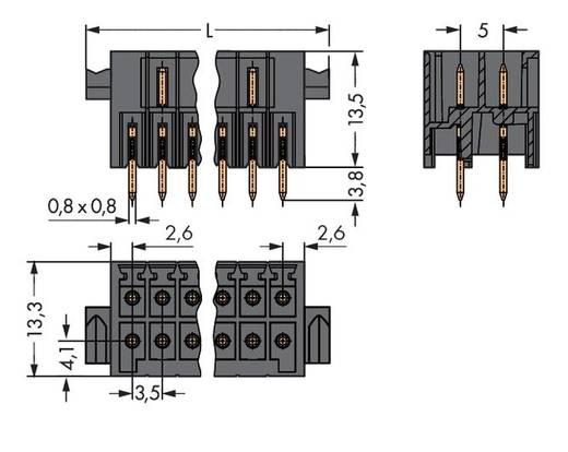 Male header (standaard) 1735 Totaal aantal polen 28 WAGO 713-1414/037-000 Rastermaat: 3.50 mm 20 stuks