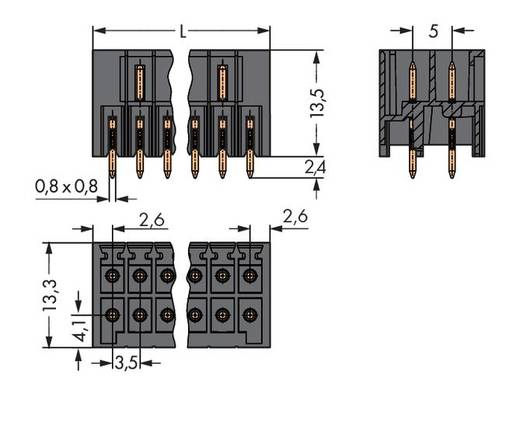 Male header (standaard) 1735 Totaal aantal polen 12 WAGO 713-1406/105-000 Rastermaat: 3.50 mm 50 stuks