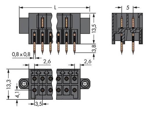 Male header (standaard) 1735 Totaal aantal polen 22 WAGO 713-1411/107-000 Rastermaat: 3.50 mm 20 stuks